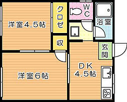 宝珠荘 B棟[2階]の間取り
