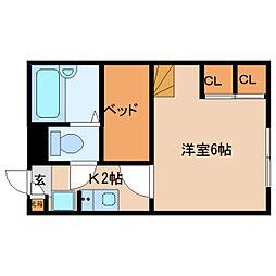 近鉄奈良線 菖蒲池駅 徒歩11分の賃貸マンション 2階1Kの間取り