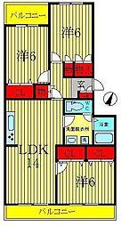シャルム秋元[4階]の間取り