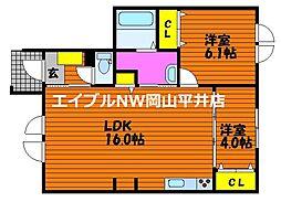 JR山陽本線 瀬戸駅 徒歩5分の賃貸アパート 1階2LDKの間取り