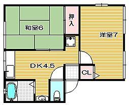 大阪府高槻市山手町1丁目の賃貸アパートの間取り