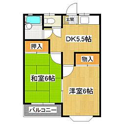 ロイヤルハイツA棟 2階2DKの間取り
