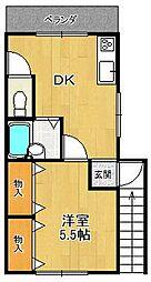 オカダハイツPart2 1号棟[2階]の間取り