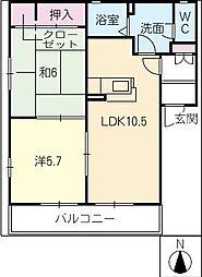 ディアスパーシモンA棟[2階]の間取り