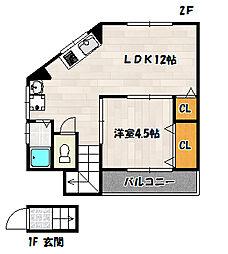 兵庫県神戸市兵庫区下三条町の賃貸アパートの間取り