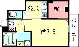 ソレイユ清元 4階1Kの間取り