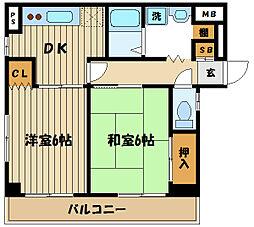東京都府中市矢崎町3丁目の賃貸マンションの間取り