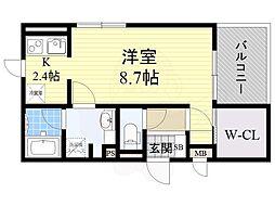 阪急千里線 北千里駅 バス7分 小野原南下車 徒歩4分の賃貸アパート 2階ワンルームの間取り