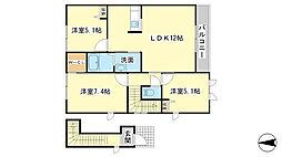 シャーメゾン田井[A201号室]の間取り