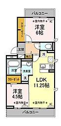 東京都清瀬市中里5丁目の賃貸アパートの間取り