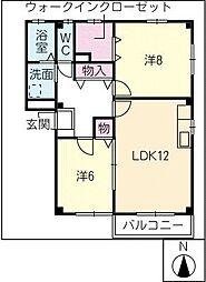 カーサハピネス B棟[2階]の間取り