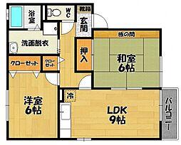 ウィング三宅 C棟[2階]の間取り