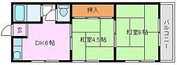 大阪府堺市中区八田西町3丁の賃貸アパートの間取り