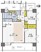 全室フローロング、2LDK  角部屋です