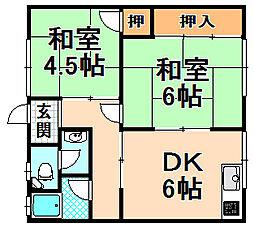 兵庫県伊丹市荒牧南3丁目の賃貸アパートの間取り