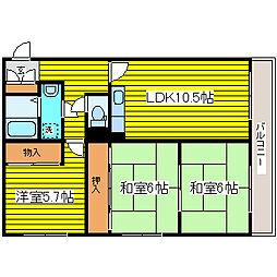 北海道札幌市東区北二十五条東12丁目の賃貸マンションの間取り