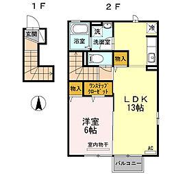 レジデンスokura A 2階1LDKの間取り
