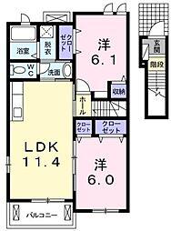 マイルストーンズ 2階2LDKの間取り