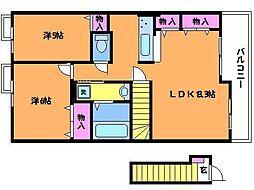 エスポワール深大B[1階]の間取り