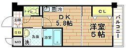 兵庫県尼崎市西立花町2丁目の賃貸マンションの間取り