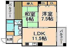 兵庫県伊丹市西台1丁目の賃貸マンションの間取り