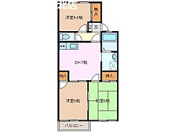 三重県桑名市高塚町6丁目の賃貸アパートの間取り