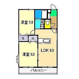 ハイツ六泉III[3階]の間取り