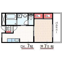 スカラーズハウス 4階1DKの間取り