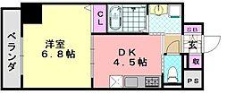 フォレストインサイド深井 8階1DKの間取り