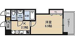 ラグゼ新大阪EAST2 2階1Kの間取り