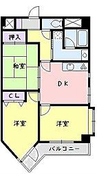 神奈川県平塚市中堂の賃貸マンションの間取り