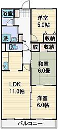 プリムローズ上福岡[206号室]の間取り
