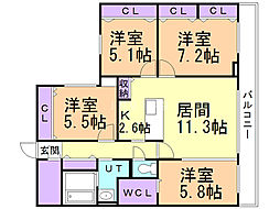 S−RESIDENCE宮の森 3階4LDKの間取り