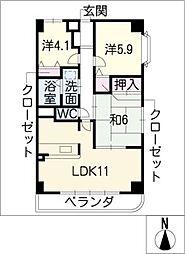 ラピスラズリTN[3階]の間取り