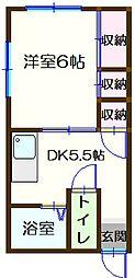 東京都立川市一番町5丁目の賃貸アパートの間取り
