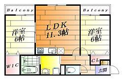 富士林プラザ11番館[3階]の間取り