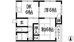 大阪府箕面市西小路2丁目の賃貸アパートの間取り