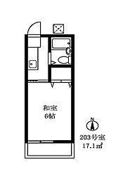 シャンブルシオンA棟[203号室]の間取り