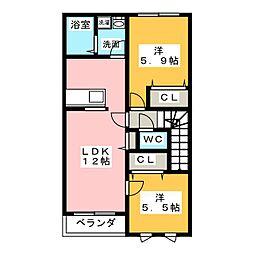 メゾンデュソレイユ[2階]の間取り