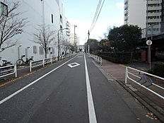 交通量の少ない前面道路です。