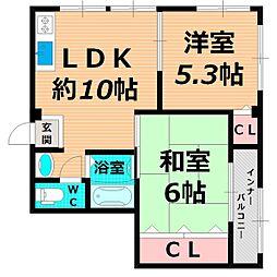 京阪本線 千林駅 徒歩4分の賃貸マンション 1階2LDKの間取り