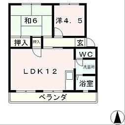 滋賀県大津市秋葉台の賃貸マンションの間取り