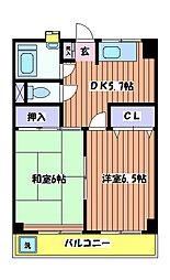岡部マンション A棟[2階]の間取り