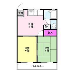 宍倉ハイツ1[1階]の間取り