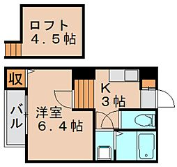 コンフォートベネフィス箱崎10[2階]の間取り