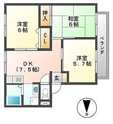 パナハイツコモダ(北棟、南棟)[2階]の間取り