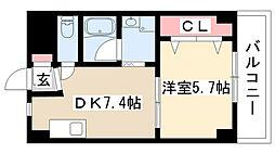 愛知県名古屋市瑞穂区桜見町1丁目の賃貸マンションの間取り
