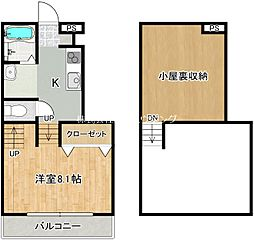 JR徳島線 府中駅 徒歩32分の賃貸アパート 1階1SKの間取り