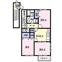 ヴィレッジ龍馬II C(アパート) 2階3DKの間取り