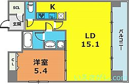 KDXレジデンス三宮[13階]の間取り